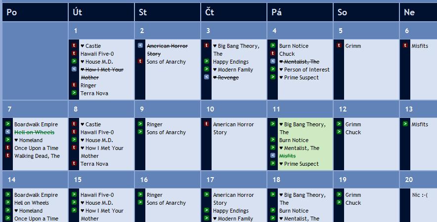 Seriálový kalendář